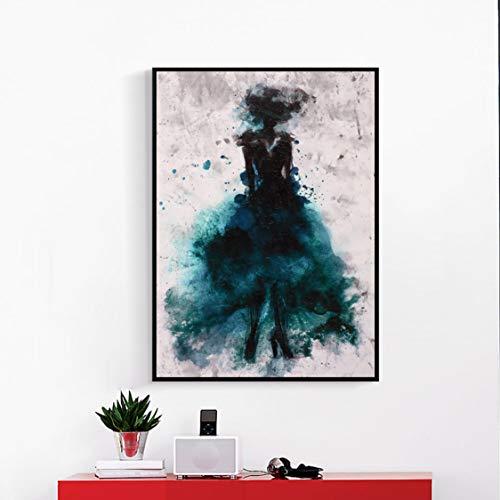 Danjiao Elegante Tanzende Rock Mädchen Aquarell Abstrakte Leinwand Malerei Poster Drucke Cuadros Wandkunst Bild Home Room Decoration Wohnzimmer 60x90cm