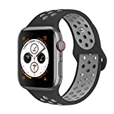 AdMaster Compatible with Apple Watch Bands 38mm 40mm,Soft Silicone Replacement Wristband Compatible with iWatch Series 1/2/3/4 - M/L Black/Cool Gray