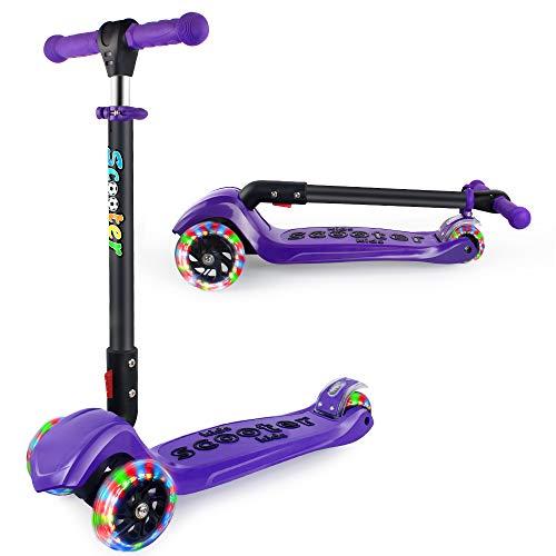 BELEEV Roller Kinder klappbar und 4 Höhenverstellbar, Kinderscooter Dreirad für Kinder Kleinkinder Mädchen und Jungen, 3 LED Räder Scooter von 3 bis 12 Jahren, kinderroller Doppel-Hinterrad(Violett)