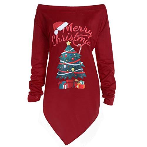 Writtian Weihnachten Pullover Damen Langarm Weihnachtspullover Off Shoulder BluseTops Damen Sweatshirt Loose Asymmetrisch Langarmshirt Christmas Blouse Drucken Xmas Pulli