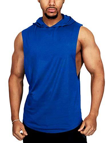 DELIMALI Camiseta sin mangas de la aptitud de los hombres con capucha, tops de la aptitud de