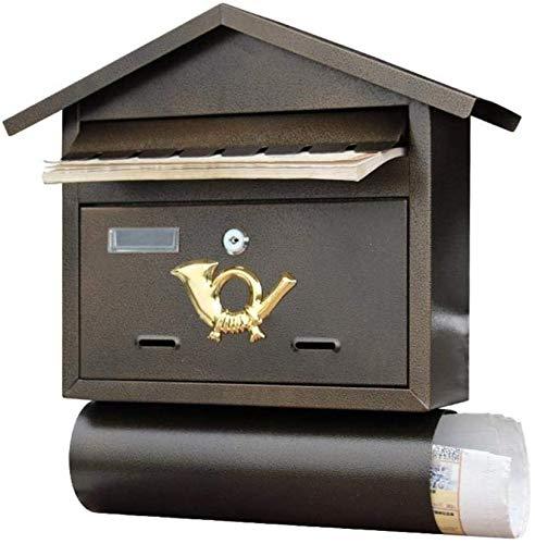 NMDD Mailbox Wall Mounted Mailbox Abschließbarer Großbrief-Briefkasten Outdoor Vintage Galvanized Steel Secure Letterbox