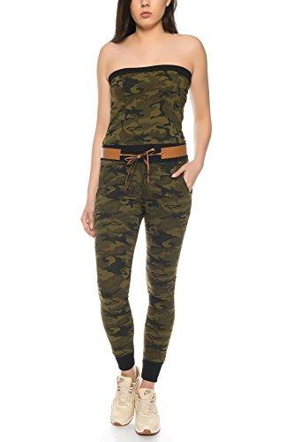 Crazy Age Jumpsuit Overall Trägerlos Schulterfrei Einteiler Ganzkörperanzug Latzhose Latzoverall in Camouflage Tarnfarben (Woodland, L~38/40)