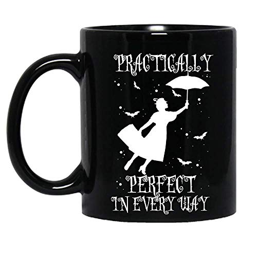 N\A Prácticamente sentidos Mary Poppins Disfraz de Halloween Divertida Taza de cerámica Tazas de café gráficas Tazas Negras Tapas de té Novedad Personalizada