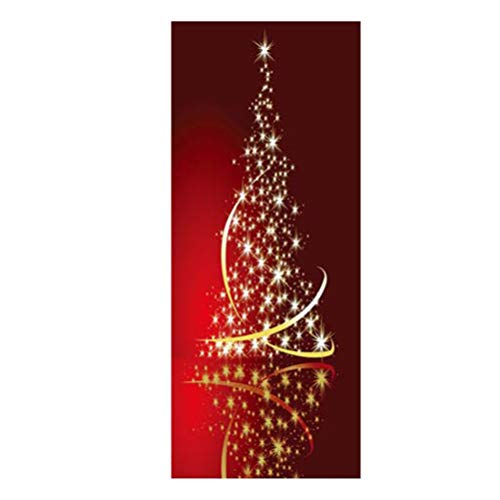 BESPORTBLE Pegatinas de Las Puertas de La Navidad 3D Adhesivos de Puertas Auto Adhesiva de PVC Puerta Impermeable Navidad Calcomanía Bastón de Caramelo Árbol Puerta Mural del Papel Pintado