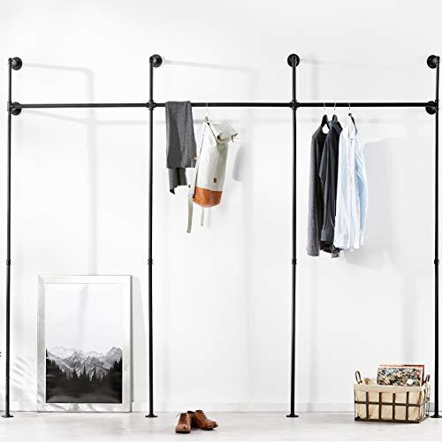 pamo Kleiderstange Industrial Loft Design - Gaderobe für begehbaren Kleiderschrank Wand I Schlafzimmer Kleiderständer aus schwarzen stabilen Rohren zur Wandmontage I Wasserrohren (3-Fach)