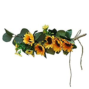 Silk Flower Arrangements ASSR Artificial Wedding Arch Flowers,15.7in Artificial Sunflower Flower Swag Floral Swag Door Swag Wreath Twig,Decorative Swag with Green Leaves