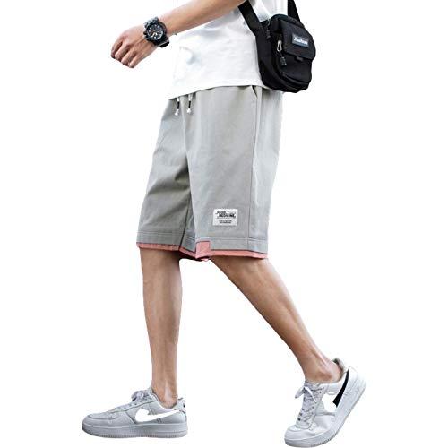 Pantalones Cortos para Hombre Personalidad Costuras en Contraste Ajuste Regular Cintura elástica Pantalones de Playa Casuales Sueltos de Verano, con Bolsillo XL