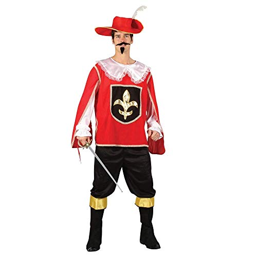 Mens Red Royal Musketeer Guard Halloween Historical Fancy Dress Party Costume