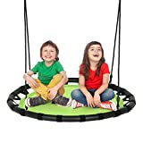 Costzon 40' Flying Saucer Tree Swing, Round Swing for Kids Adults with Adjustable Heights & Multi-ply Rope, 600 Lbs Round Swing for Indoor & Outdoor Play, Great for Tree, Backyard (Green)