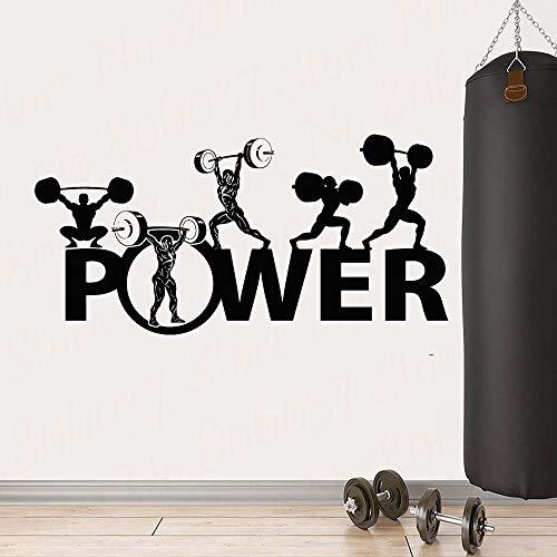 Gym muur vinyl sticker kracht gewichtheffen bodybuilding sport barbell winkel fitness muur poster art deco power behang 57x29cm