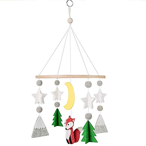 PENGXING Felt Ball Mobile Animal Mobile, Infant Crib Hanging Mobile, Baby Cot Mobile, Baby Wind Chimes, Nursery Ceiling Mobile (Fox)