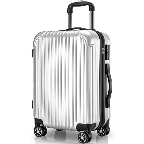 VARNIC スーツケース キャリーケース キャリーバッグ 機内持込 PC材質 耐衝撃 大型 超軽量 静音ダブルキャスター 360度回転 TSAロック搭載 旅行 出張 【永久保証】(多様の色及びサイズ) (S サイズ(40.5L/機内持込), 銀)