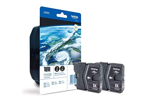 Brother LC985BKBP2 Ink Cartridge, 2-er Pack, 300 Seiten, schwarz