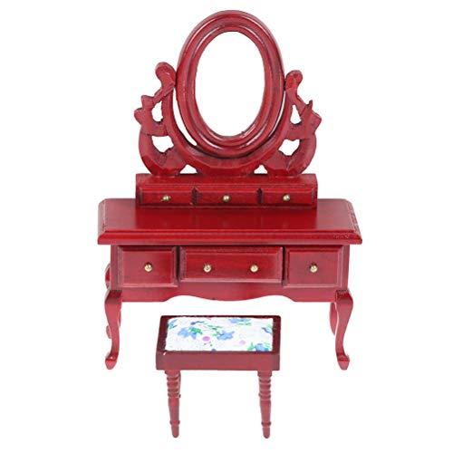 IYSHOUGONG 1 juego 1:12 de muebles de casa de muñecas con taburete y espejo, juego de mesa de tocador de madera para maquillaje y tocador para barbies.
