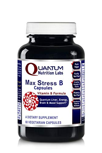 Max Stress B Caps - 30 Vegan Capsules - Complete Vitamin B Formula for Liver, Energy, Brain and Mood Support