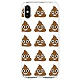 DistinctInk Clear Shockproof Hybrid Case for iPhone XR (6.1' Screen) - TPU Bumper, Acrylic Back, Tempered Glass Screen Protector - Poop Emoji Pattern