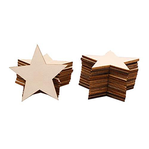 Toyvian 25 Stücke Holzsterne Holz Stern Holzscheiben zum Basteln und Bemalen DIY Baumschmuck Baumscheiben Naturholzscheiben Hochzeit Streudeko Tischdeko für Weihnachtsbaum Deko 5cm