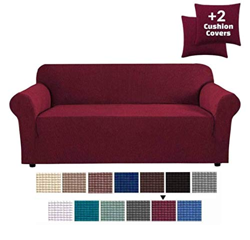 JinaMart High Stretch Slipcover | Washable Slipcovers for Sofa +2 Cushion Covers | Easy Fit Sofa Couch Cover 3 Seater Furniture Protector Anti-Slip Elastic Sofa Covers (Burgundy red, Sofa)
