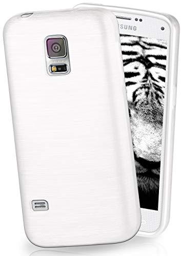 MoEx Funda de Silicona con Aspecto Aluminio Cepillado Compatible con Samsung Galaxy S5 en Blanc