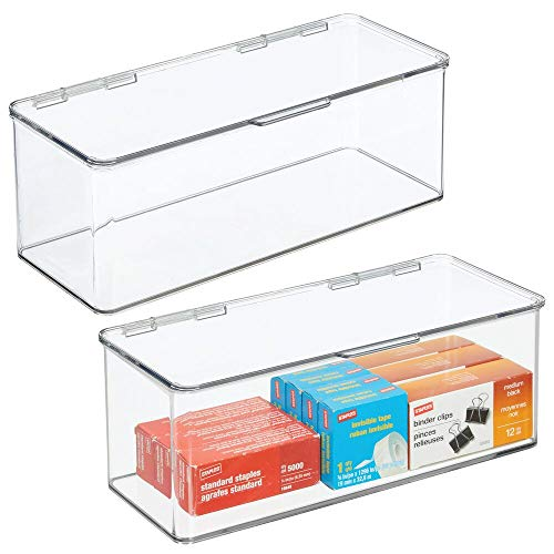mDesign Plastic Stackable Home, Office Supplies Storage Organizer Box with Attached Hinged Lid - Holder Bin for Note Pads, Gel Pens, Staples, Dry Erase Markers, Tape - 5