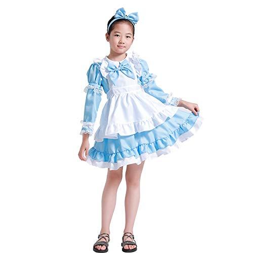 Avsvcb Cosplay Disfraz de Navidad para niños Alice Fantasy Wonderland Vestido de Princesa Halloween Novedad Regalo Disfraz de sirvienta Bruja Disfraz
