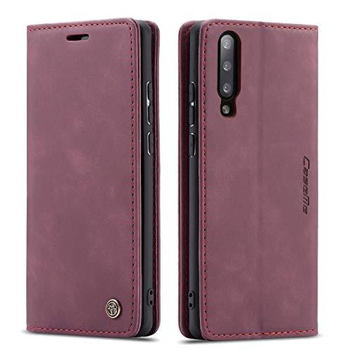 QLTYPRI Hülle für Samsung Galaxy A50, Vintage Dünne Handyhülle mit Kartenfach Geld Slot Ständer PU Ledertasche TPU Bumper Wallet Hülle Flip Schutzhülle für Samsung Galaxy A30S A50 A50S - Rot