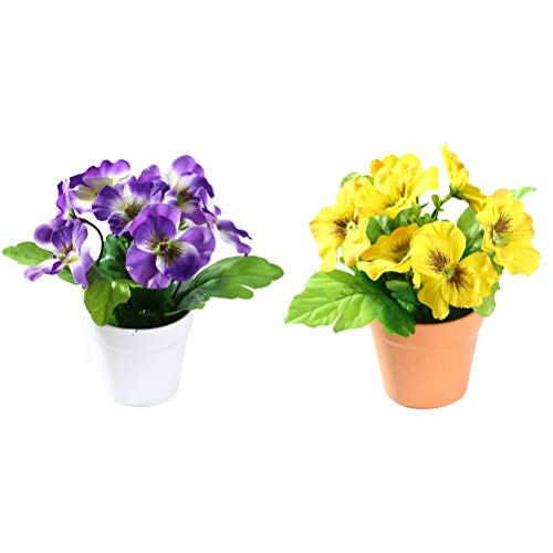 DAN&LAN 2PCS Artificial Flowers Fake Silk Pansy Arrangements in Pots Desktop Potted Bonsai for Home Office Decoration (Yellow + Purple)