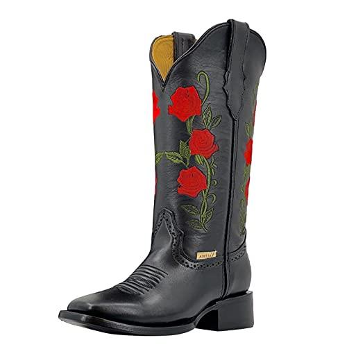 Briskorry Botas estilo vaquero para mujer, botas de invierno con bordado de flores, botas de cowboy, botas de equitación, botas de invierno de media altura
