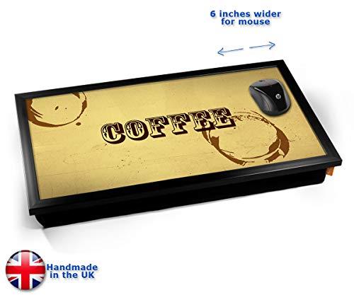 Coffee Rings Typography Art Print Cushioned Bean Bag Laptop Lap Tray Desk - Built-in EMF Shield (Electro Magnetic Field) Kissen Tablett Knietablett Kissentablett - Schwarzer Rahmen