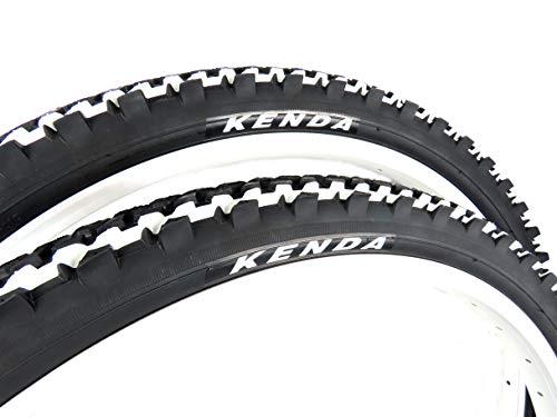 Pair of KENDA K849 MTB Bike Tyres, size 24 x 1.95, black with white...