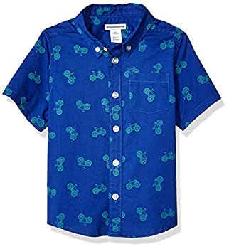 Amazon Essentials Kids Boys Short-Sleeve Woven Poplin Chambray Button-Down Shirts Bicycle X-Small