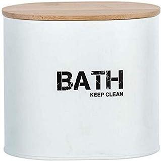 WENKO, Bathroom Box with Lid Gara, Steel, Bamboo Lid, Home & Bathroom Large Compact Storage Unit, 1 Litre, 14.5x13.5x10.5c...