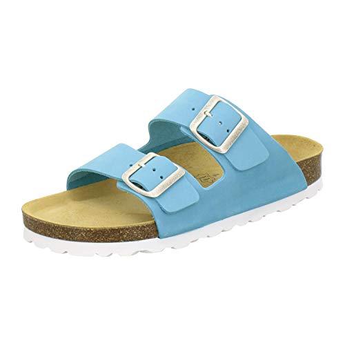 AFS-Schuhe 2100, Bequeme Damen Pantoletten echt Leder, praktische Arbeitsschuhe, Hausschuhe, Handmade in Germany (40 EU, Türkis)
