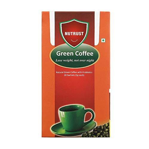 Nutrust Natural Green Coffee with Probiotics, 20 Sachets