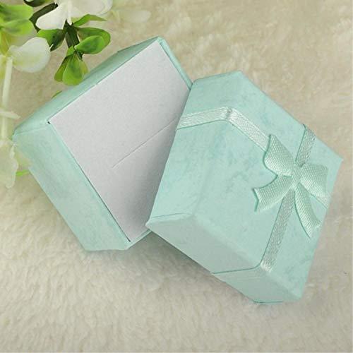 Moda Colorido 1PC Nuevo 4x4x3cm / 8x5x2.5cm / 9x7x3cm Caja organizadora de joyería Anillos de Almacenamiento Caja Linda Caja de Regalo pequeña para Anillos Pendientes-4x4x3cm Azul