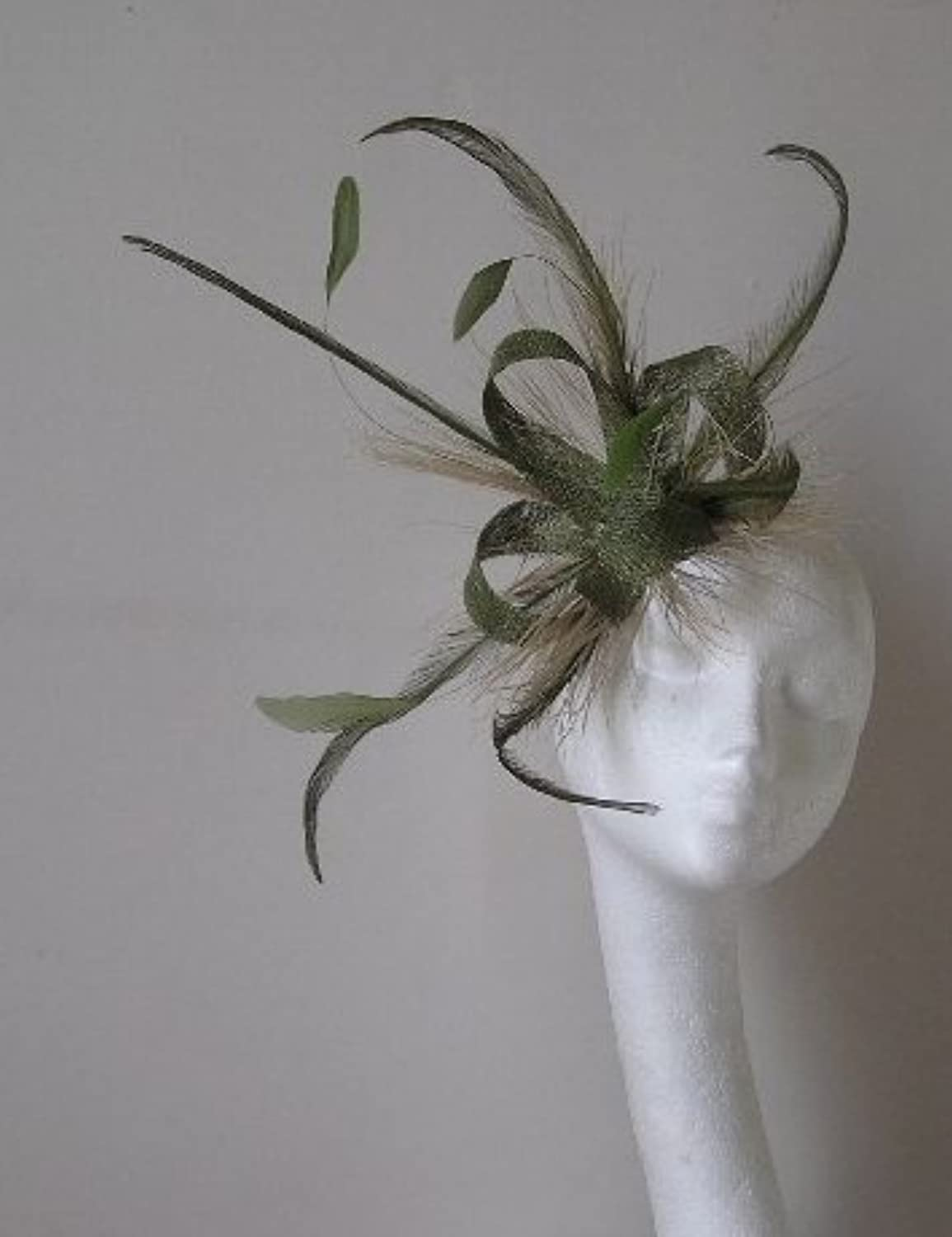 Olive Green Feather and Sinamay Fascinator Hat 136