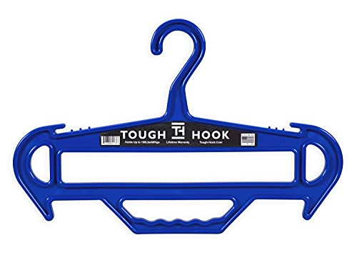 Tough Hanger XL -Ultimate X-Large Heavyweight Strong Standard Hanger Holds 180 Pounds,Built in Carry Handle,100% USA Made, (Blue)