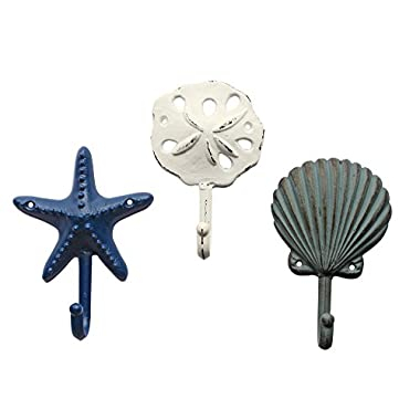 Sea Treasures Wall Hooks - Set of 3 - Antique Weathered Hangers for Coats, Aprons, Hats, Towels, Pot Holders - Scallop, Sand Dollar, Sea Star / Starfish