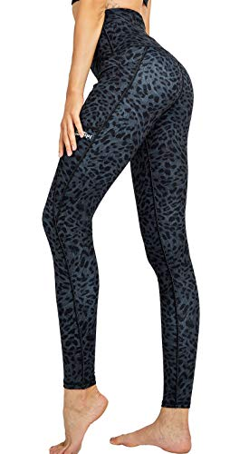 COOLOMG Damen Yoga Leggings Hohe Taille Fitnesshose Laufhose Leggins mit Taschen Leopard_schwarz L