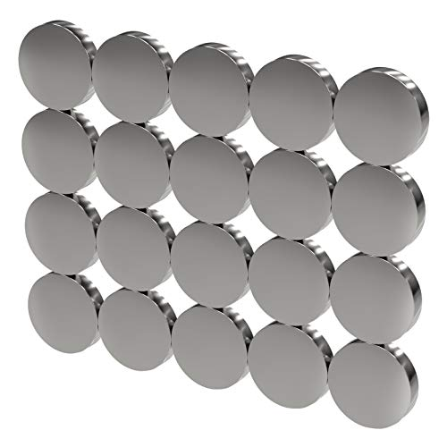 MTS Magnete - Juego de 20 imanes circulares de neodimio (extrafuertes, redondos,...