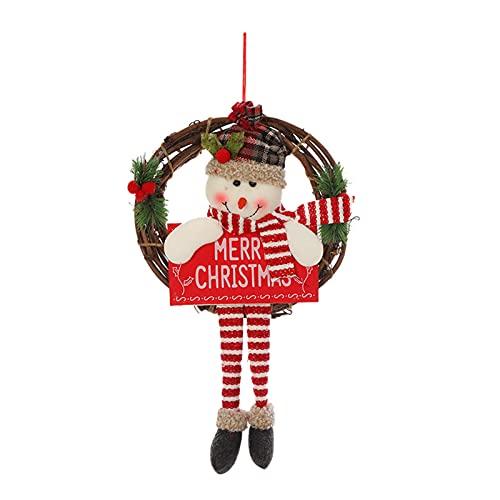 lefeindgdi Corona de ratán de Navidad, anillos de corona natural, lindo colgante de muñeca de felpa de pierna larga encantadora suspensión de puerta creativa accesorios de fiesta de Navidad