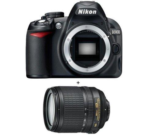 Nikon D3100 + AF-S DX NIKKOR 18-105 mm VR Digitalkamera, kompakt, 14,2 Megapixel, Schwarz