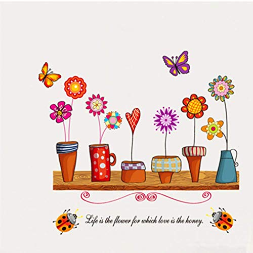 GWFVA Muursticker bloempot kleur rustieke stickers stijl woonkamer muur stickers 50 * 70cm