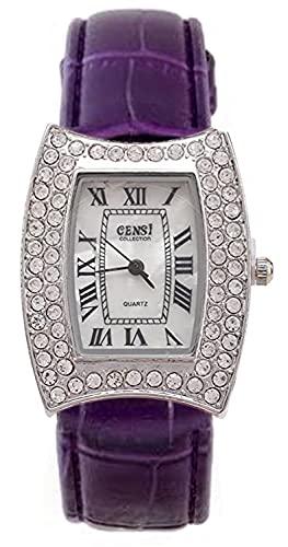 Censi Mujer Plata Diamante Bisel PU Correa de Cuero Reloj de Pulsera con Cara de nácar Cierre de Hebilla de Cuarzo japonés (Púrpura)