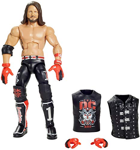 WWE Aj Styles Elite Series #77 Deluxe Action Figure with Realistic Facial Detailing, Iconic Ring Gear & Accessories