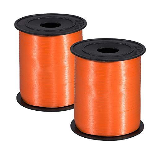 Molshine 500 yardas (250 yardas/rollo) cinta de globo suave,rollo de cuerda rizada para bricolaje lugar de vacaciones,decoración de boda,embalaje de regalo, paquete de 2 (Naranja)