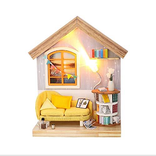 Casa Modelo De Rompecabezas De Madera 3D Diy,Casa De Muñecas En Miniatura,Kits De Manualidades, Regalo Para Niñas,Modelo De Juguete De Rompecabezas(Sala)