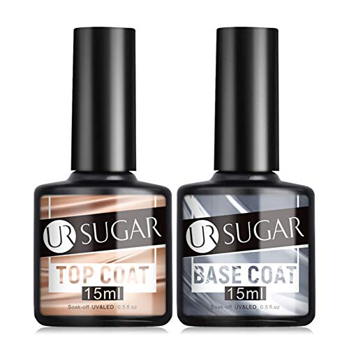 UR SUGAR 15ml UV Nagellack Base Coat und Top coat Set Gellack UV LED für Nageldesign Gel Polish, 2 Stück Maniküre set, Soak off Gel Nagellack für Nail Art