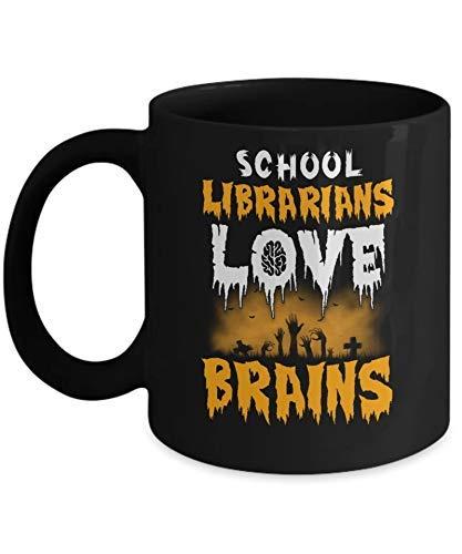 N\A Los bibliotecarios Escolares aman los Cerebros Disfraz de Halloween Taza de caf Taza de caf